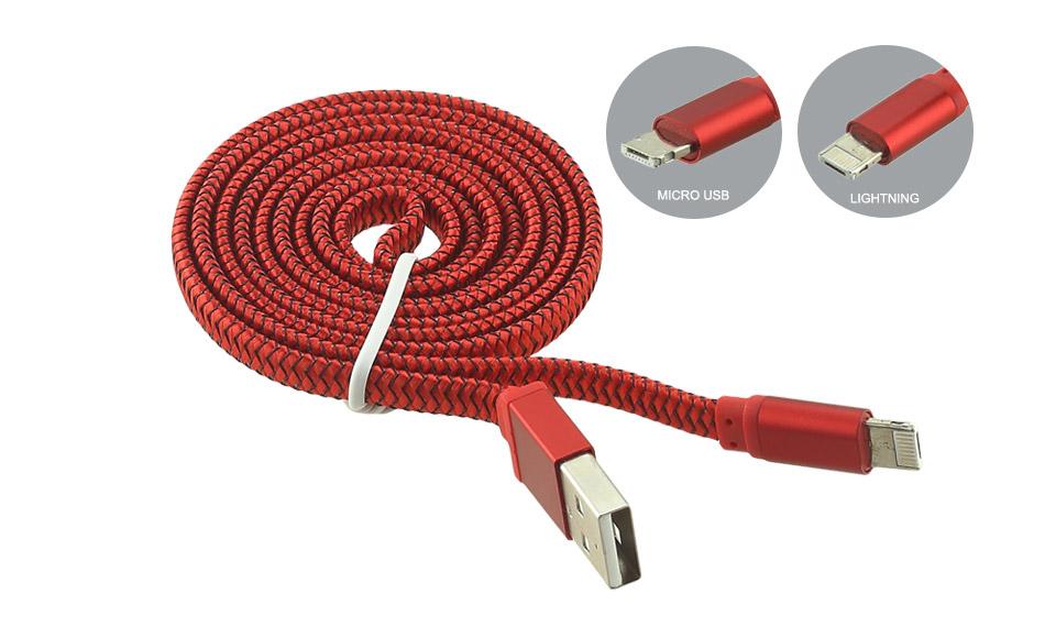 Cavo FLAT 2in1 [USB A maschio > Micro-USB B + Apple lightning] 1m ROSSO