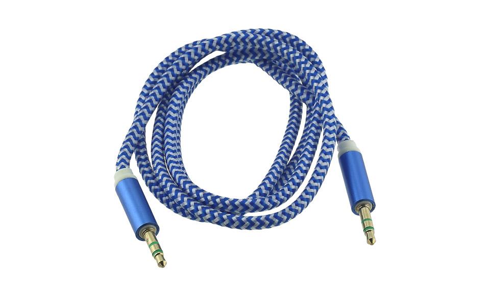 Cavo Audio AUX Jack 3.5mm (maschio-maschio) TRS 1 metro, tessuto blu - Cuffie