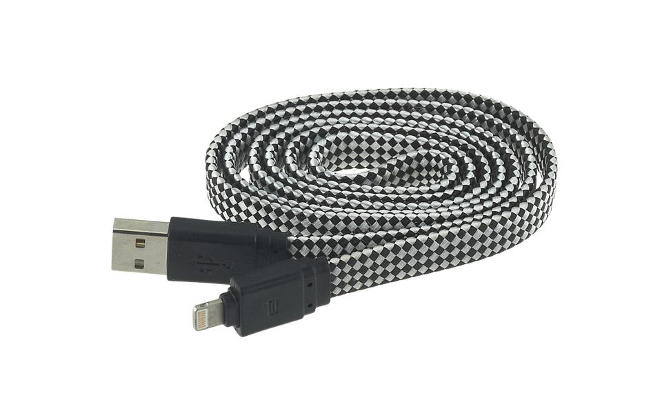 Cavo Tessuto FLAT: Lightning > USB per Apple iPhone 5 5s 6 6s, 1 metro, NERO