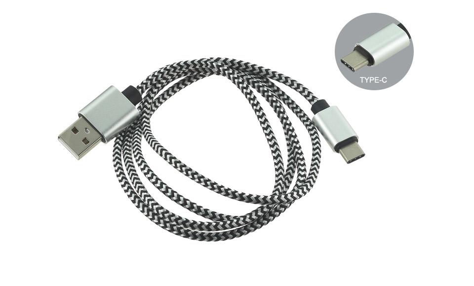 Cavo USB [ USB A Maschio --> Tipo C maschio] 1 metro Type C tessuto - SILVER