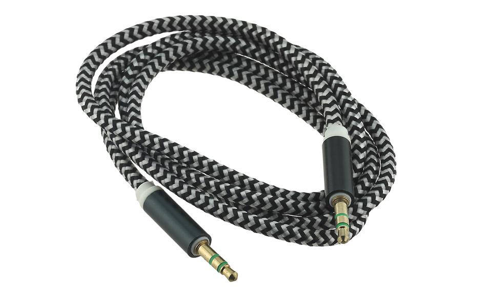 Cavo Audio AUX Jack 3.5mm (maschio-maschio) TRS 1 metro, tessuto nero - cuffie