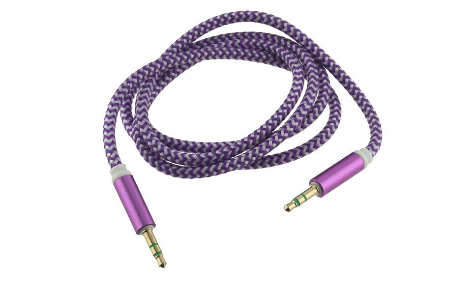 Cavo Audio AUX Jack 3.5mm (maschio-maschio) TRS 1 metro, tessuto viola- Mp3 PC
