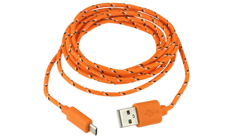 Cavo USB in Tessuto [ Micro USB B maschio > USB A maschio ] 2 metri, ARANCIONE