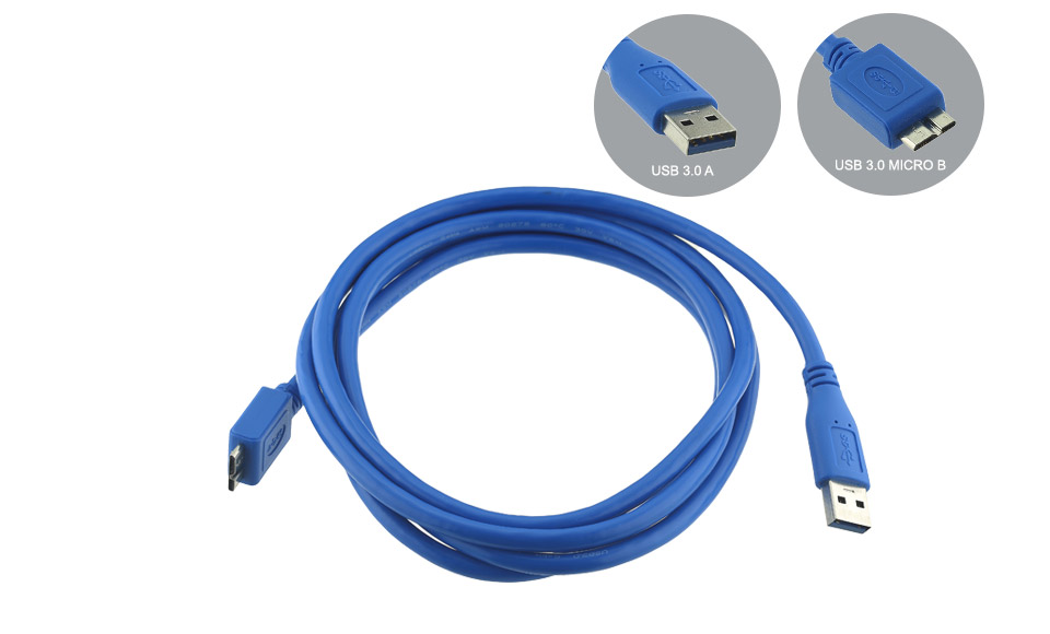 Cavo USB 3.0 [USB3 tipo A maschio > USB3 Micro tipo B] 1,8mt blue