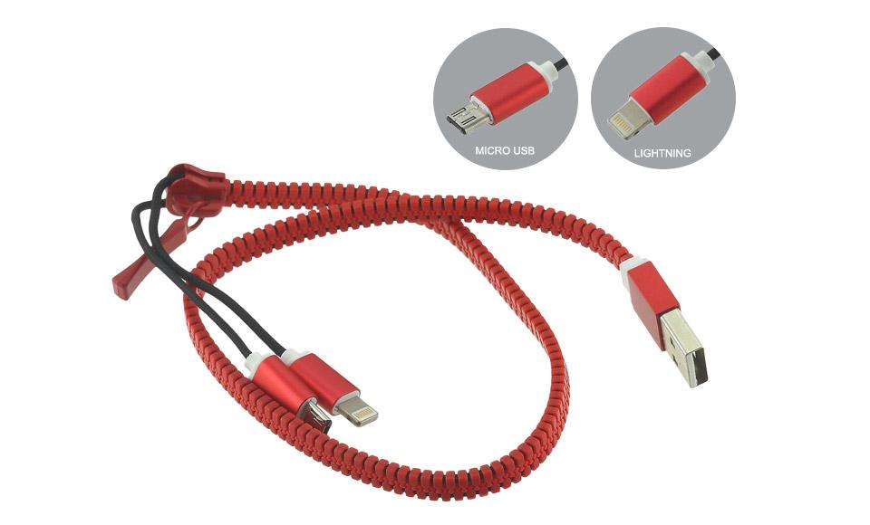 Cavo ZIP 2in1 [USB A maschio > USB A femmina + Apple Lightning] 40cm Rosso