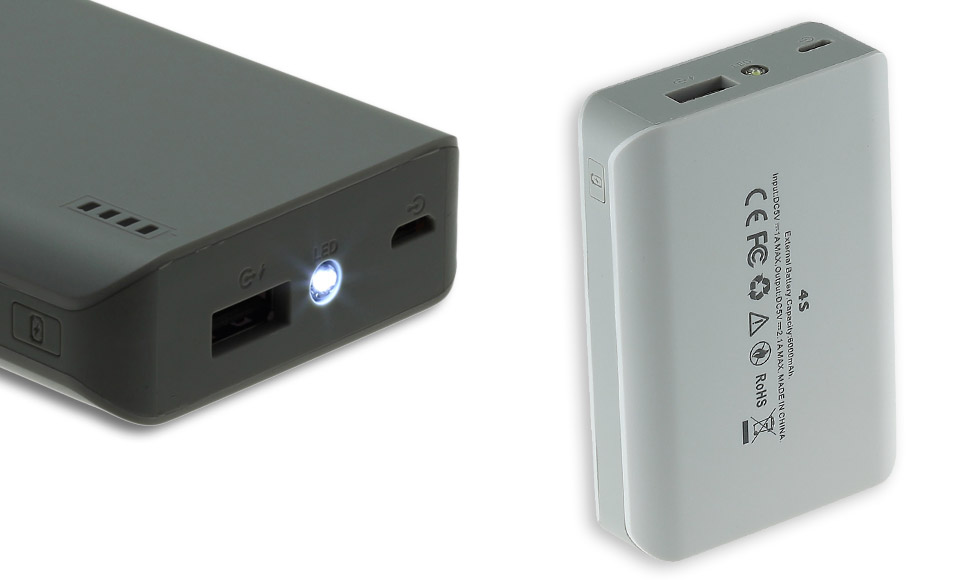 Power Bank 6000mAh fast-charge 2A, compatto, bianco, luce LED, batteria esterna