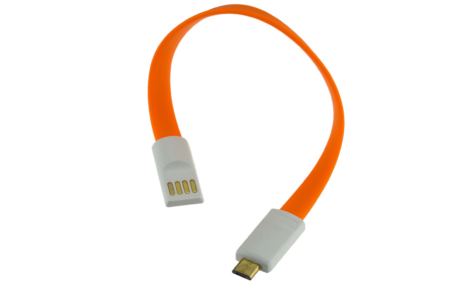 Cavo 20 cm: Micro USB > USB piatto con teste magnetiche, arancio - High Speed